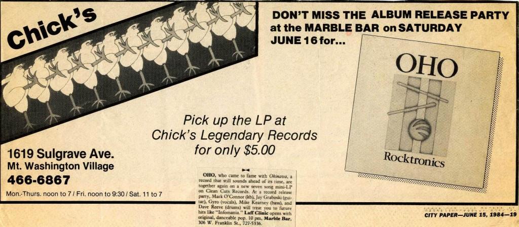 "Chick's ad promoting OHO's new album ""Rocktronics"" (June 15, 1984)"